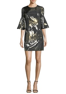 Trina Turk Bell-Sleeve Metallic Rose Jacquard Cocktail Dress