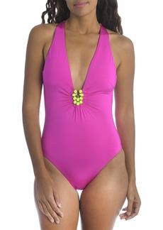 Trina Turk Bijou Solid Plunge One Piece Swimsuit
