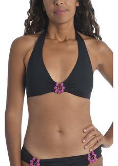Trina Turk Bijou Stone Detail Solid Halter Bikini Top