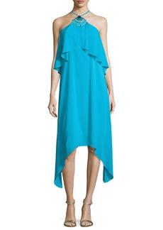Trina Turk Botanical 2 Silk Crepe de Chine Midi Dress