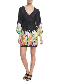 Trina Turk Bouquet Floral-Print V-Neck Coverup Tunic