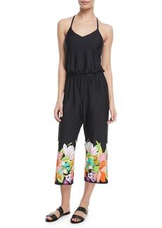 Trina Turk Bouquet Floral-Print Wide-Leg Jersey Coverup Jumpsuit