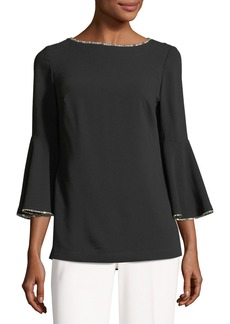 Trina Turk Bromely Bell-Sleeve Blouse w/ Metallic Trim