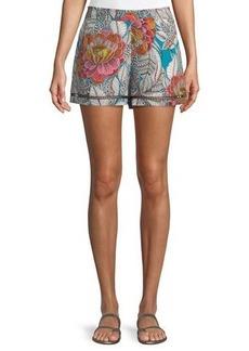 Trina Turk Bubbly High-Waist Floral Shorts