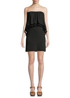 Trina Turk Bumble Must Have Jersey Popover Tassel Strapless Mini Dress