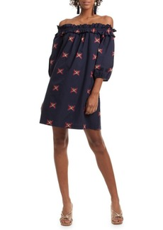 Trina Turk Butterfly Off-The-Shoulder Cotton Dress