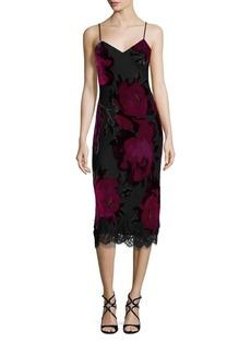 Trina Turk Cabaret Fosse Velvet Floral Burnout Slip Dress