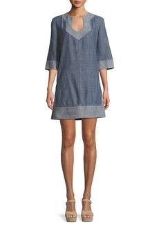 Trina Turk Carnelian Chambray V-Neck Mini Dress