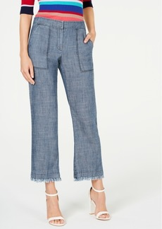 Trina Turk Check In Chambray Wide-Leg Pants
