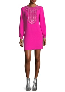 Trina Turk Classic Crepe Embellished Long-Sleeve Dress