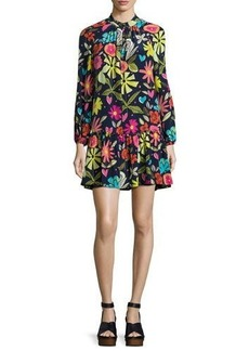 Trina Turk Corozone Long-Sleeve Floral Silk Shift Dress