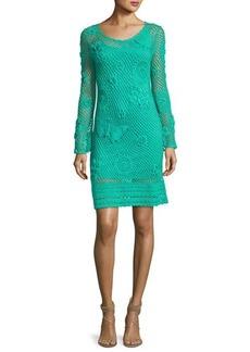 Trina Turk Cottonwood Long-Sleeve Crochet Sweaterdress