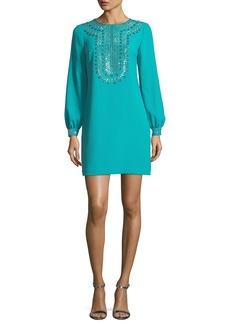 Trina Turk Crepe Embellished Long-Sleeve Dress