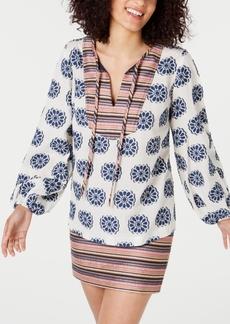 Trina Turk Damas Cotton Mixed-Print Split-Neck Top