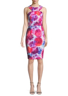 Trina Turk Delano Watercolor-Print Racerback Sheath Dress
