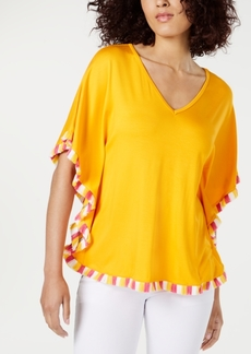 Trina Turk Delfino Fringed Butterfly-Sleeve Top