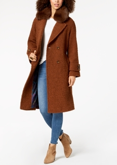 Trina Turk Double-Breasted Fur-Collar Coat