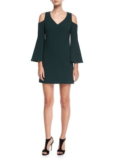 Trina Turk Double Luxe Cold-Shoulder Funnel-Sleeve Dress