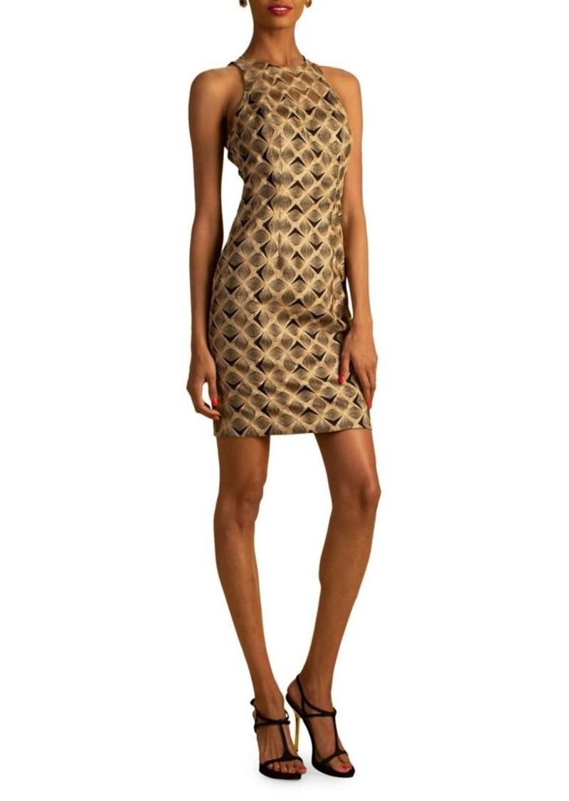 Trina Turk Eastern Luxe Origami Embroidery Sheath Dress