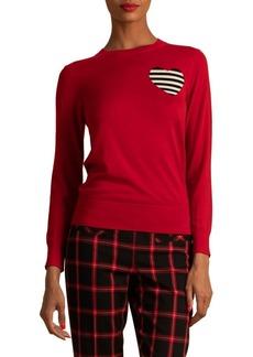 Trina Turk Eastern Luxe Ruby Rose Heart Wool Sweater