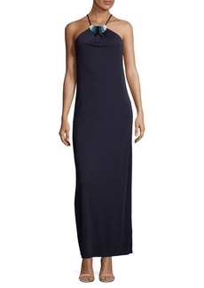 Trina Turk Embellished Squareneck Floor-Length Dress