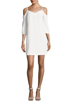 Trina Turk Embellished Straps Cold-Shoulder Crepe Day Dress