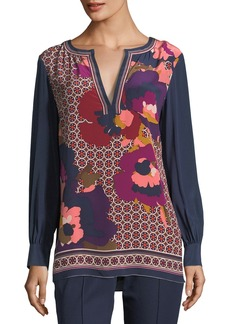 Trina Turk Engineered Mixed-Print Long-Sleeve Silk Tunic