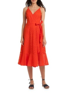 Trina Turk Eyelet Cotton Wrap Dress