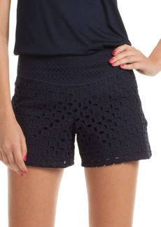 Trina Turk Eyelet Embroidered Cotton Shorts