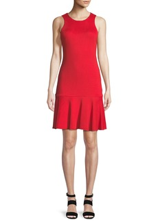 Trina Turk Fantastic Knit Open-Back Flounce-Hem Dress