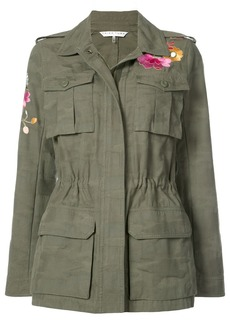 Trina Turk floral appliqué military cargo jacket - Green