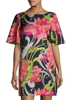 Trina Turk Floral Jacquard Half-Sleeve Shift Dress