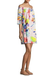 Trina Turk Floral Off the Shoulder Dress