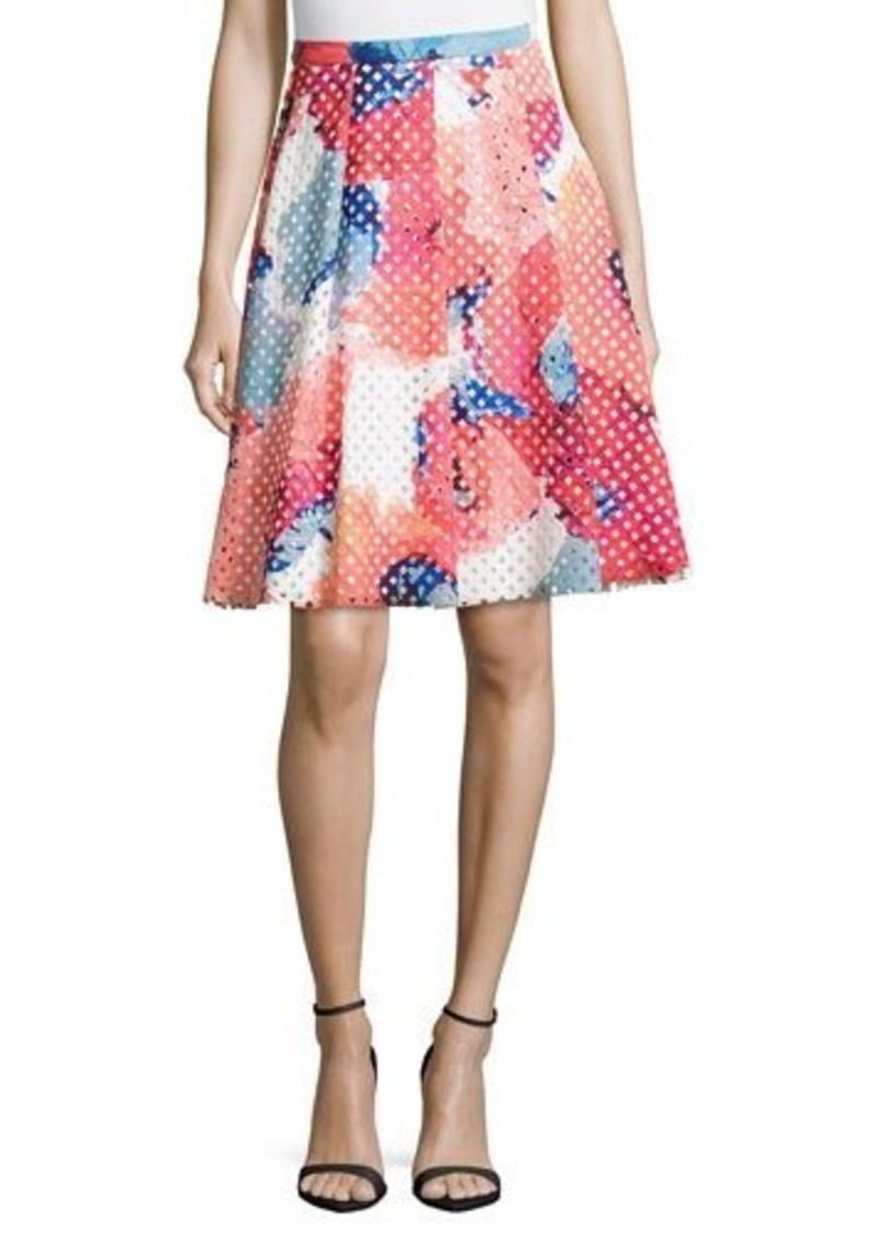 Trina Turk Floral-Print Perforated Party Skirt