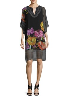 Trina Turk Floral-Print Split-Neck Chiffon Shift Dress