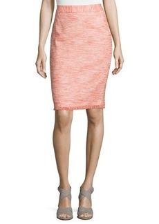 Trina Turk Frayed-Trim Tweed Pencil Skirt