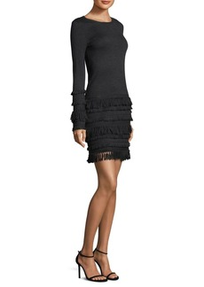Trina Turk Fringed Merino Sweater Dress