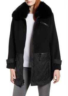 Trina Turk Genuine Fox Fur Trim Mixed Media Coat