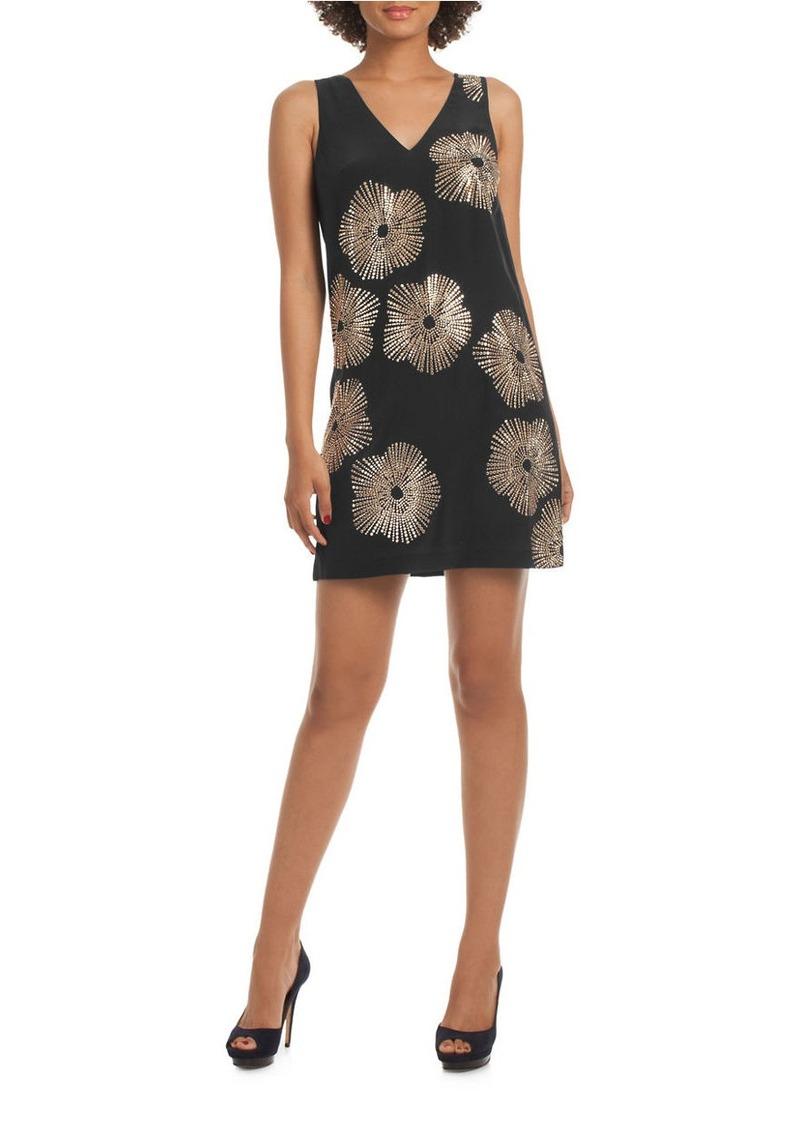 TRINA TURK Glitterati Embellished Silk Shift Dress