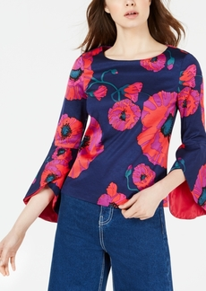 Trina Turk Grand Jete Floral-Print Tulip-Sleeve Top