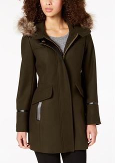Trina Turk Hooded Fur-Trim Coat
