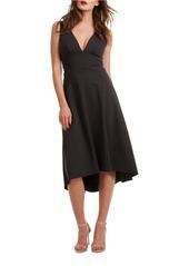 TRINA TURK Josefina Solid V-Neck Dress