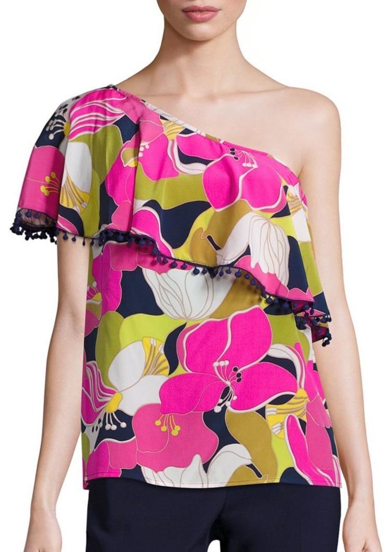 Trina Turk Kahe One-Shoulder Floral Print Top