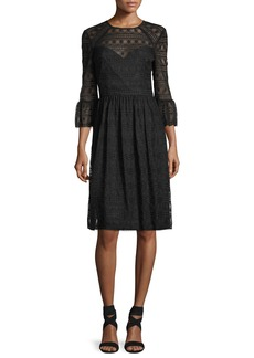 Trina Turk Lattice Lace Midi Dress w/ Trumpet Sleeves