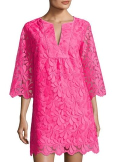 Trina Turk Lilium 3/4-Sleeve Petal Lace Shift Dress