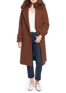 Trina Turk London Genuine Fox Fur Trim Long Coat