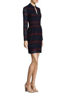 Trina Turk Stripe Lace Keyhole Mini Dress