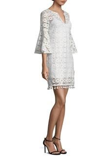 Trina Turk Loomis Lace Bell-Sleeve Shift Dress