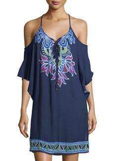 Trina Turk Lotus Batik Cold-Shoulder Crinkled Gauze Coverup Dress