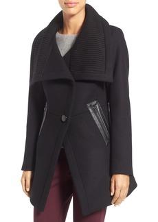 Trina Turk 'Maddi' Knit Collar Cutaway Wool Blend Coat
